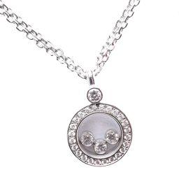 Chopard ショパール ハッピーダイヤモンド 3P K18ホワイトゴールド レディース ネックレス【中古】SAランク
