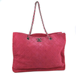 CHANEL Chain Suede Red Ladies Tote Bag [Used]
