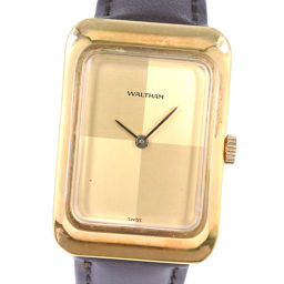 WALTHAM Waltham 7155/1 Stainless steel × leather hand-rolled mens gold dial watch [pre]