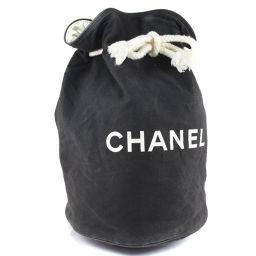 CHANEL シャネル 巾着 プールバッグ キャンバス×ナイロン 黒 レディース ショルダーバッグ【中古】