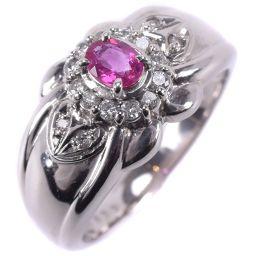 Pt900プラチナ×ルビー×ダイヤモンド 10.5号 R0.25 D0.14刻印 レディース リング・指輪【中古】SAランク