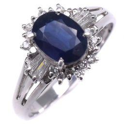 Pt900プラチナ×サファイア×ダイヤモンド 12号 S1.00 D0.22刻印 レディース リング・指輪【中古】SAランク