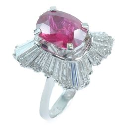 Pt900プラチナ×ルビー×ダイヤモンド 11号 赤 3.79 3.23刻印 レディース リング・指輪【中古】SAランク
