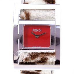 FENDI フェンディ スクエア ハラコ ステンレススチール×ハラコ シルバー クオーツ レディース 赤文字盤 腕時計【中古】A-ランク