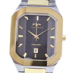 TECHNOS テクノス T9353GB ステンレススチール ゴールド クオーツ メンズ グレー文字盤 腕時計【中古】A+ランク