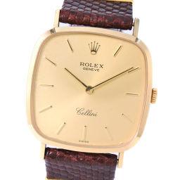 ROLEX ロレックス チェリーニ 4114 K18イエローゴールド×レザー 手巻き メンズ ゴールド文字盤 腕時計【中古】