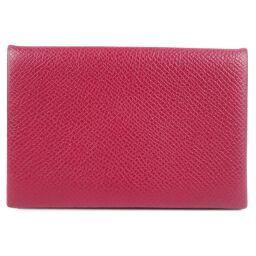 HERMES Hermes Calvi Vaux Epson Red Ladies Card Case [Used] A-Rank