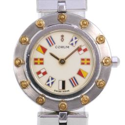 CORUM コルム クリッパークラブ 47425 39V96 ステンレススチール シルバー クオーツ レディース クリーム文字盤 腕時計【中古】