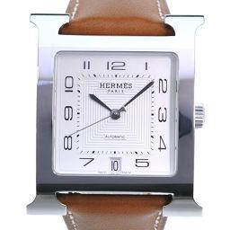 HERMES エルメス Hウォッチ HH2.810 ステンレススチール ブラウン 自動巻き ユニセックス シルバー文字盤 腕時計【中古】Aランク