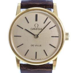OMEGA オメガ デヴィル/デビル cal.625 ステンレススチール×レザー ブラウン 手巻き レディース ゴールド文字盤 腕時計【中古】