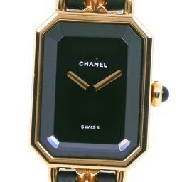 CHANEL シャネル プルミエールM GP×レザー クオーツ レディース 黒文字盤 腕時計【中古】A-ランク