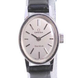 OMEGA オメガ Geneve ステンレススチール×レザー ブラック 手巻き レディース シルバー文字盤 腕時計【中古】A-ランク