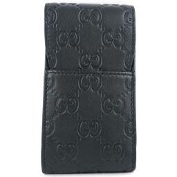 GUCCI Gucci Cigarette Case GG Shima 181716 Calf Black Ladies Pouch [Used] A + Rank