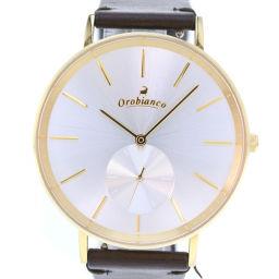 Orobianco オロビアンコ スモセコ OR-0061N ステンレススチール×レザー ゴールド クオーツ メンズ シルバー文字盤 腕時計【中古】