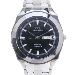 TECHNOS テクノス T9197CB ステンレススチール シルバー クオーツ メンズ 黒文字盤 腕時計【中古】A+ランク