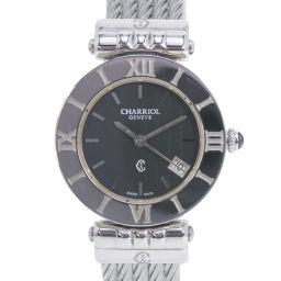 CHARRIOL Charioll Alexander ACSS Stainless Steel Silver Quartz Women's Black Dial Watch [Pre] A-rank