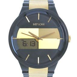 NIXON ニクソン スペンサー NA113595-00 ステンレススチール ゴールド クオーツ メンズ 黒文字盤 腕時計【中古】A-ランク
