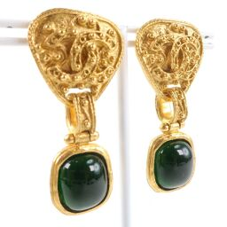 CHANEL Vintage Green Stone Gold Plated Gold 94A Engraved Women's Earrings [Used] A-Rank