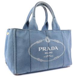 PRADA プラダ カナパトート B1877B キャンバス デニム レディース ハンドバッグ【中古】