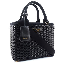 PRADA Prada 2WAY shoulder basket 1BG 835 GG canvas NERO black ladies' handbag [pre-owned] S rank