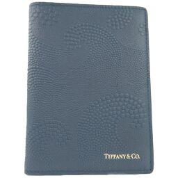 TIFFANY&Co. ティファニー 手帳カバー カーフ ネイビー ユニセックス パスポートケース【中古】Sランク