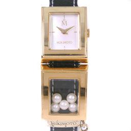 MIKIMOTO ミキモト パール/真珠 GP×レザー ゴールド クオーツ レディース ホワイトシェル文字盤 腕時計【中古】