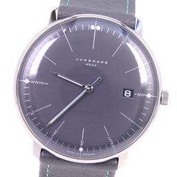 JUNGHANS Junghans Maxville Mega 058 / 4823.00 Stainless Steel x Leather Radio Clock Men's Gray Dial Watch [Used] A + Rank