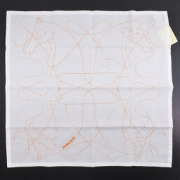 HERMES Hermes 171006G 5X Cotton White Ladies Handkerchief [Used] S Rank