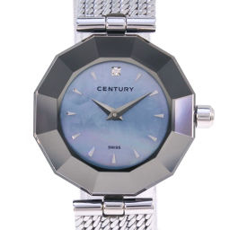 CENTURY Century Time Gem Diamond Stainless Steel Silver Quartz Ladies Blue Shell Dial Watch [Used]