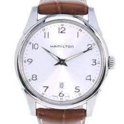 HAMILTON ハミルトン ジャズマスター シンライン H385111 ステンレススチール×レザー ブラウン クオーツ メンズ シルバー文字盤 腕時計【中古】A-ランク