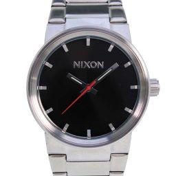 NIXON ニクソン THE CANNON 11B ステンレススチール シルバー クオーツ メンズ 黒文字盤 腕時計【中古】SAランク