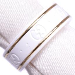 GUCCI グッチ アイコンリング GG K18ゴールド×セラミック 11.5号 ホワイト レディース リング・指輪【中古】Aランク