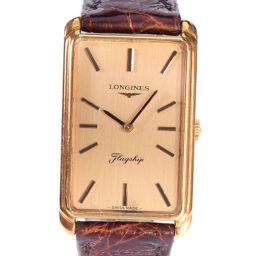 LONGINES ロンジン H776720 K18イエローゴールド×レザー ゴールド 手巻き ゴールド文字盤 腕時計【中古】