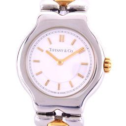 TIFFANY&Co. ティファニー ティソロ L0112 ステンレススチール ゴールド クオーツ レディース 白文字盤 腕時計【中古】A-ランク
