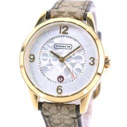 COACH コーチ シグネチャー CA.13.7.34.0456 ステンレススチール×レザー ゴールド クオーツ レディース シルバー文字盤 腕時計【中古】A+ランク