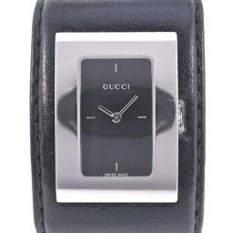 GUCCI グッチ バングル ブレスレット 7800L レザー×ステンレススチール シルバー クオーツ レディース 黒文字盤 腕時計【中古】
