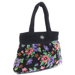 FEILER Failer Cotton Canvas Black Ladies Handbag [Pre] A-rank