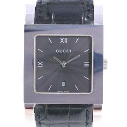 GUCCI グッチ 7900M ステンレススチール×レザー クオーツ メンズ 黒文字盤 腕時計【中古】Aランク