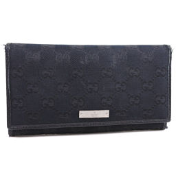 GUCCI 244946 GG canvas black men's long wallet [used]