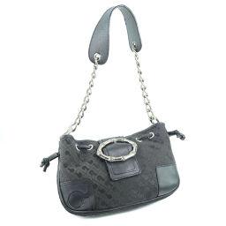 GHERARDINI Chain Canvas Black Ladies Shoulder Bag [Used]