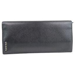 PRADA Prada 2MV836 × Saffiano NERO + BLUETTE Black Men's Wallet [Used] A-Rank