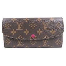 LOUIS VUITTON Louis Vuitton Portofeuil Emily M60697 Monogram Canvas Fuchsia Red TA1166 Engraved Women's Wallet [Used] A-Rank