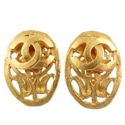 CHANEL Oval Vintage GP 95A Engraved Earrings [Used] A Rank