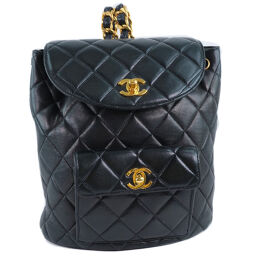 CHANEL Chanel Matrasse A10177 Lambskin Black Ladies Backpack Daypack [Used]