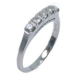 一文字 Pt900プラチナ×ダイヤモンド 11号 0.28刻印 レディース リング・指輪【中古】SAランク