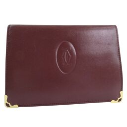 CARTIER Cartier Gamaguchi Calf Bordeaux Womens Bi-fold wallet [pre-owned]