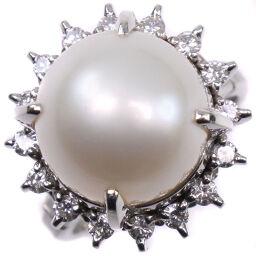 12.0mm Pt900 Platinum x Pearl x Diamond No. 11 0.41 Engraved Ladies Ring / Ring [Used] SA Rank