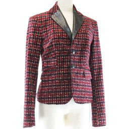 DSQUARED2 D Squared Cotton × Leather Red Ladies Tailored Jacket [Used] A-Rank