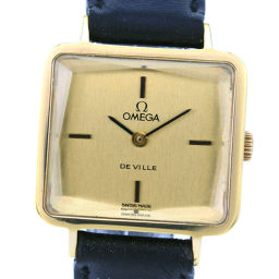 OMEGA オメガ デヴィル/デビル ステンレススチール×レザー 手巻き レディース ゴールド文字盤 腕時計【中古】