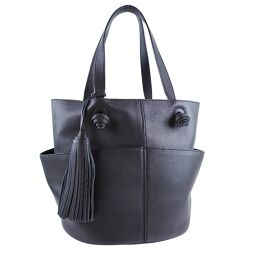 TOD'S Tod's Fringe Calf Black Ladies Tote Bag [Used] A + Rank